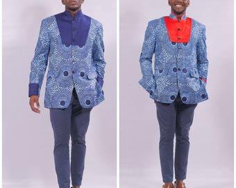 African clothing, African Men Blazer, African Ankara Jacket, men Blazer/Jacket, African Men Suit/Blazer, African fashion,  Men's Jacket