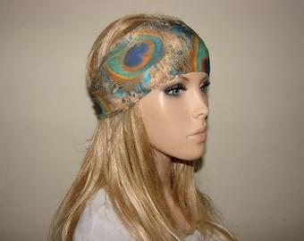 yoga headband - peacock turban headband - green brown workout headband - excercice headband - fitness hair band - Woman boho head wrap