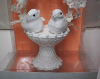 Wedding Cake Topper Doves in Basket Martha Stewart, White Feathers Brides Flowers Pearls Bouquet Wedding Centerpiece Cake Topper Love Birds