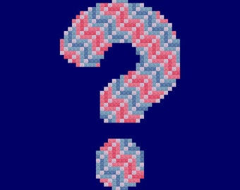 Red and Blue Question Mark Easy Cross Stitch Pattern PDF Digital Download
