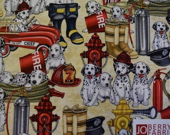 Dalmatian Puppies and Fire Fighting Equipment from the 5 Alarm Collection by Dan Morris Designs for Quilting Treasures.  JoBerry Fabrics.