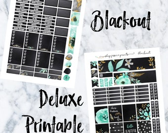 Blackout Deluxe PRINTABLE Sticker Kit / Fits Erin Condren Vertical Life Planner