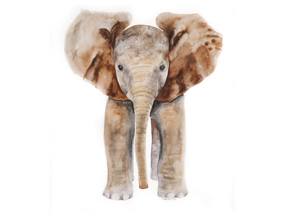 Elephant Art Nursery Art Baby Elephant Elephant Watercolor