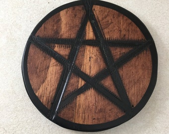 Hand crafted solid wood Pentacle plate