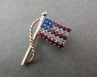 vintage rhinestone pin-1980s, flag, USA, red white and blue, US flag