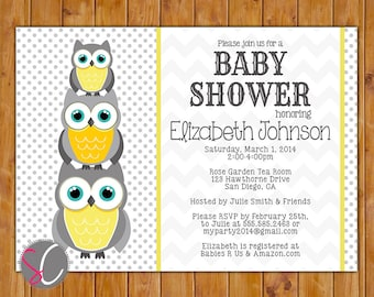 Owl Baby Shower Invitation Chevron Polka Dots Gender Neutral Grey Yellow Stacked Owls (155)