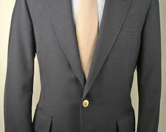 1980's Corbin Solid Navy Blue 100% Wool Two Button Blazer Men's Size: 38R