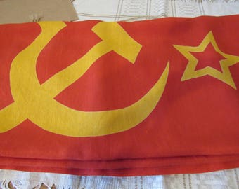 USSR state flag, state symbol red flag Soviet Army flag, red flag with hammer, sickle, Star, Communism soviet symbols soviet bright red flag
