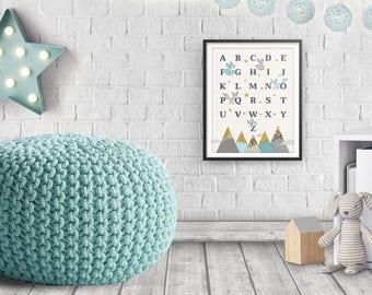 Alphabet poster, Woodland nursery, Woodland baby shower, Nursery wall art, Nursery Art, Nursery ABC, Nursery decor, New Baby Gift, Printable