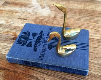 Pair of Mini Brass Swans