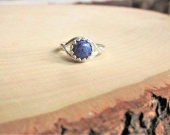 Blue Sodalite Ring Blue Stone Ring Blue Gemstone Ring Blue Sodalite Gemstone Ring Blue Ring Blue Round Ring