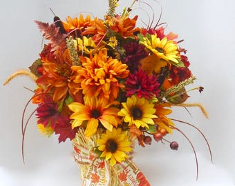 Fall Floral Arrangement,Dining Table Centerpiece, Large Fall Table Centerpiece ,Fall Centerpiece,Autumn Centerpiece