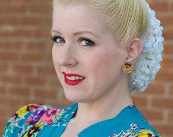 Hair Snood Hand Knit From Vintage 1940s Pattern Retro Pinup