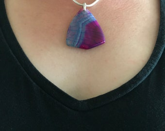Blue and Purple Dragon Vein Agate Freeform necklace