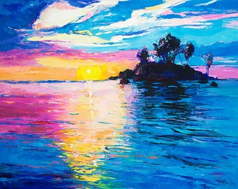 Original Seascape Oil Painting on Canvas-The island 26x20 Landscape Painting Original Art Impressionistic Oil on Canvas by Ivailo Nikolov