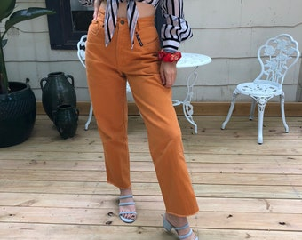 Rust High Waisted Rockies Jeans size 26, Raw Hem Jeans, Cropped Jeans, Rocky Mountain Jeans, Rust Orange High Waist Jeans, 90s Jeans size 26