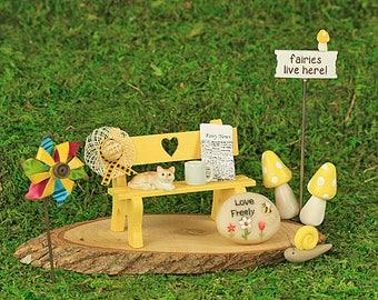 10 Piece Yellow Fairy Garden Starter Pack, Gift Set, Fairy garden Gift Set, Fairy Garden Accessory, The Fairy Garden