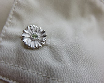 Gerbera Cuff Links, Gerbera Cuff links, Flower Cuff Links, Silver cuff links, mens accessories