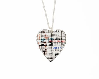 Heart Necklace for Women - Gifts for Book Readers - Library Due Date Card