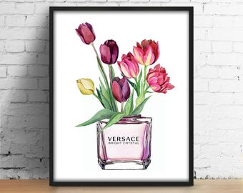 Versace bottle flowers print Versace perfume digital art Fashionista poster Watercolor printable illustration Fashion Girl Room Wall Art