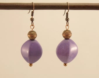 Earrings glass oval beads mauve and copper metal