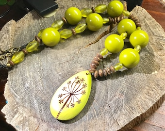Necklaces Handmade Vintage chartreuse lucite with handmade pendant