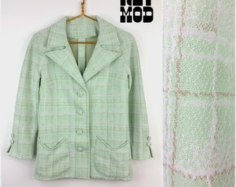 Unique Vintage 60s 70s Pastel Mint Green, Beige and White Plaid Tartan Sassy Polyester Blazer