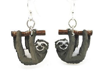 Sloth Earrings - Wood Earrings - Eco Friendly