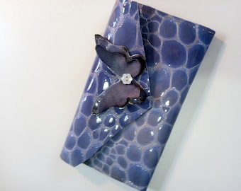 Gabrielle Long Wallet, Purple Patent Leather with 6 credit card slots, cash and cellphone compartments