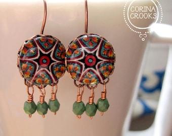 Beaded earrings, Handmade Italian pottery design cabochon, Copper, Lever back, Turquoise, Italy, Italian jewelry