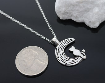 Cat Moon necklace, silver cat and the moon necklace, cat and the moon necklace on sterling silver chain