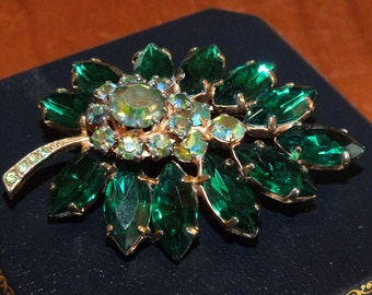 Green Rhinstone Leaf Oversize  Statement Brooch