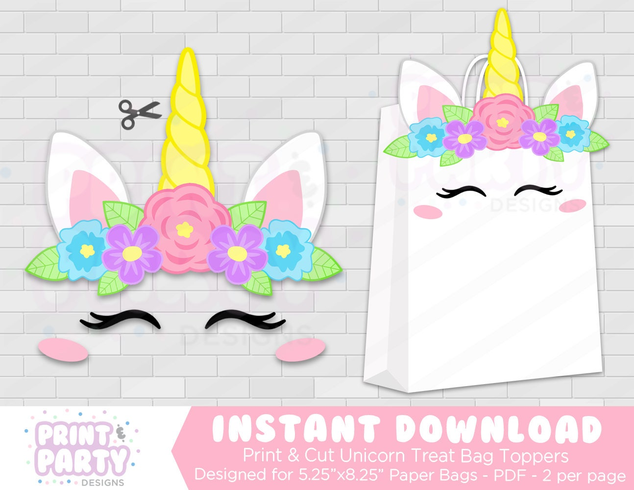 Printable Unicorn Party Favor Bags Rainbow Unicorn Party
