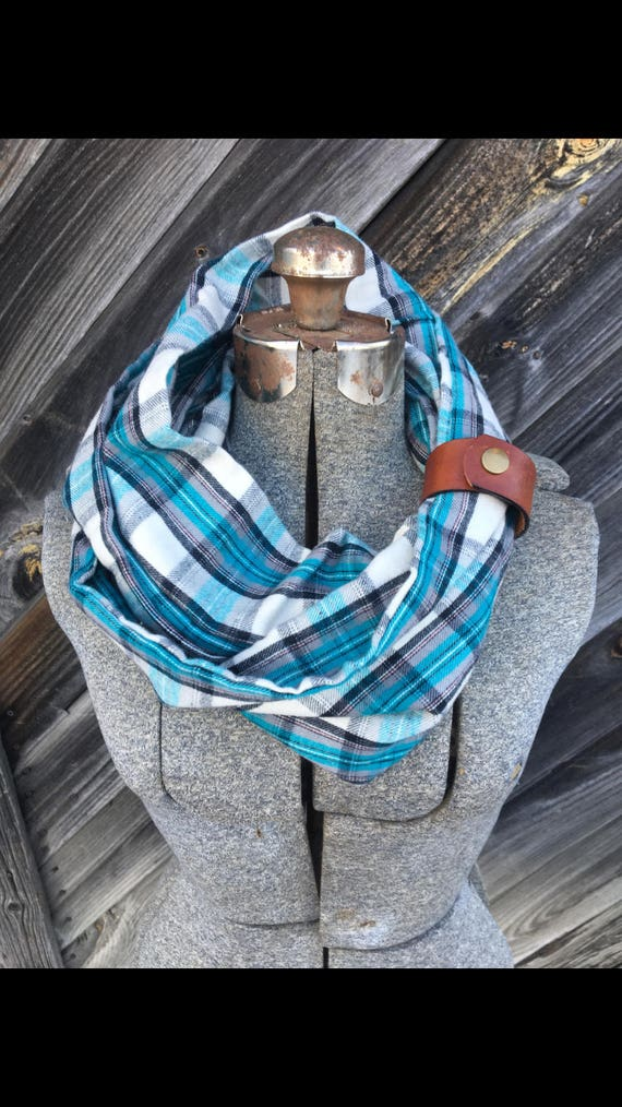gray, white and teal plaid flannel eternity scarf with a brown leather cuff - soft, trendy