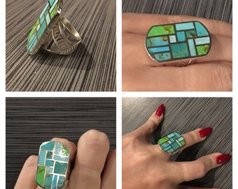 Can't decide ! Multicolor Turquoise Inlay Sterling Silver Ring