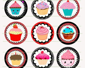 INSTANT DOWNLOAD Clip Art Cupcakes Bottle Cap Images Digital Printable Digital Collage Printable Images Cupcake Toppers Printable Graphics