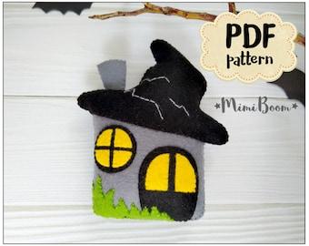 Halloween haunted house pattern Felt pattern Halloween ornament Ghost house pattern Halloween PDF tutorial Felt digital patterns
