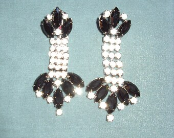 REDUCED 1950s Drop Earrings Marquis Cut Jet Stones Accented with Rhinestones  Item # 844 Jewelry