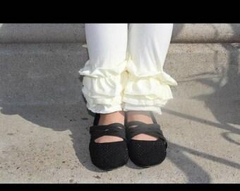 Cream ruffle leggings icings