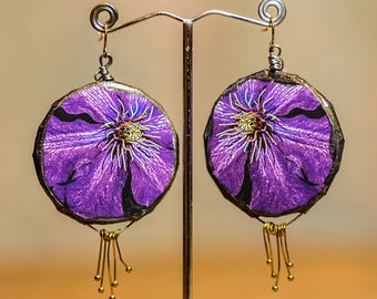 Purple flower Mixed Media Handmade earrings