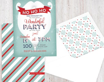 Retro Santa Beard Holiday Party Invitation, Christmas Party Invitation, Winter Party Invitation, Lined Envelopes