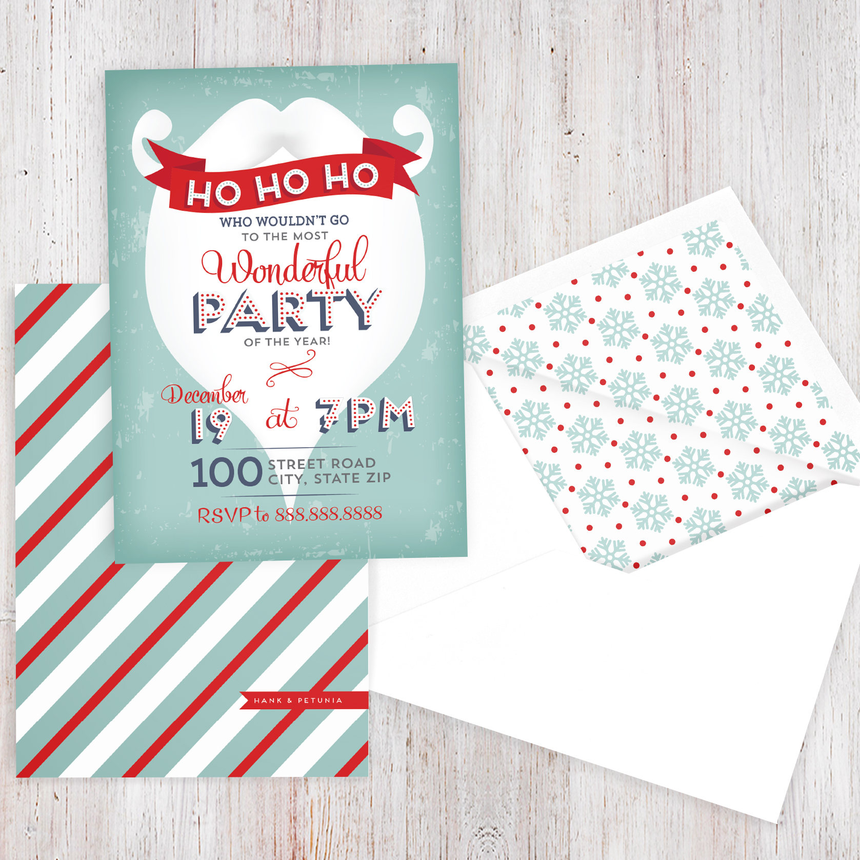 Retro Santa Beard Holiday Party Invitation, Christmas Party ...