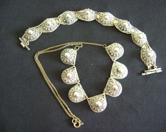 Vintage Alpaca Necklace/Choker and Bracelet.