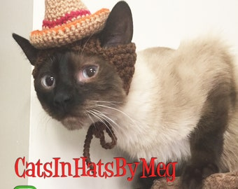Handmade Crochet Sombrero Hat for Cats