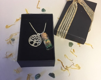 Attract Good Luck, Prosperity & Success Wish Bottle Necklace. Wicca, Aromatherapy, Herbs. Spell Cast