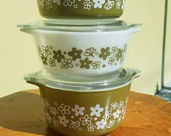 Pyrex Spring Blossoms Casserole, #472, with LID, Free Shipping                                                                       8