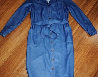 Vintage 1970s Denim Shirt Dress with Belt