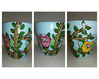Owls in a Tree Pot