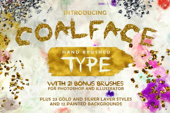 Coalface Brush Font Typeface - Plus BONUS Gold and Silver Photoshop Layer Styles, Brushes, Backgrounds