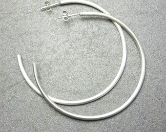 Silver hoop earrings / Sterling silver 5cm hoop earrings / Modern silver post / Handmade in the UK / boho large hoops